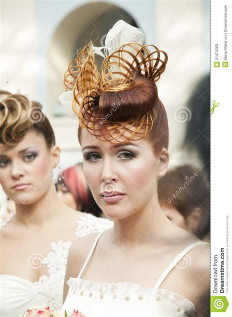 russian hair dresser geico commercial competition of wedding hairdresses 4 editorial stock photo