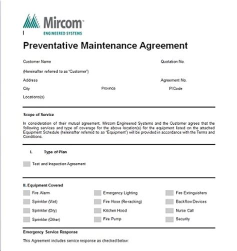 Inspection Maintenance Preventative Maintenance Contract Templates