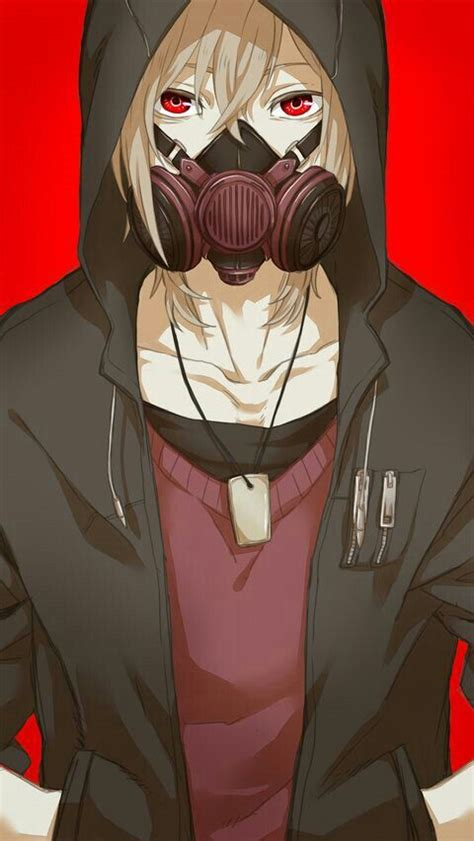 anime boy red eyes anime boy gas mask white hair black hoodie red shirt