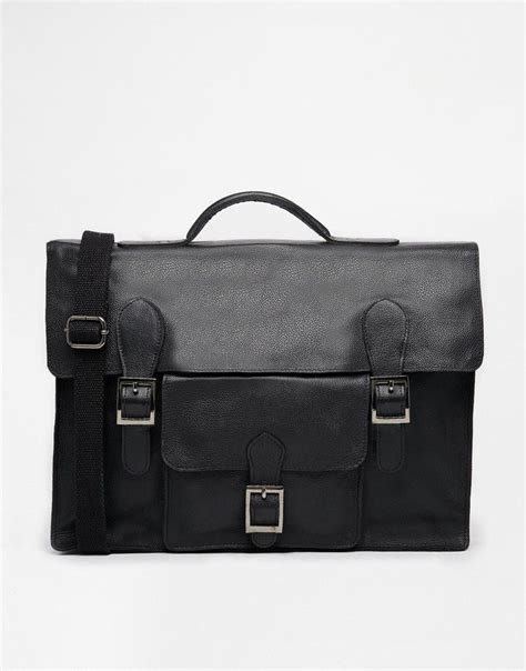 Asos Satchel In Black Leather asos leather satchel in black with front pockets asos