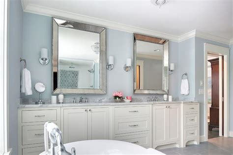 blue bathroom mirror ivory and blue bathroom with beaded beveled mirrors