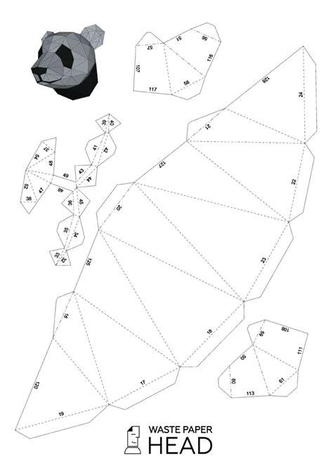Digital Will Template 01 Papercraft Panda Head Printable Digital Template Pinterest 종이 공예