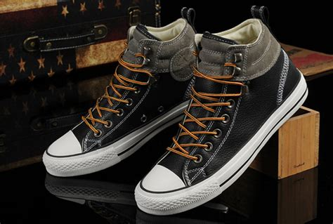 Converse Ct High New Size 9 5 43 converse black leather grey suede padded collar high tops