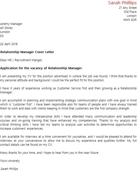 Fleet Services Manager Cover Letter by Relationship Manager Cover Letter Exle Icover Org Uk