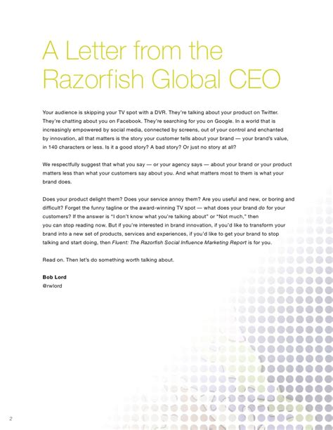 Sle Letter Service No Longer Needed Fluent The Razorfish Social Influence Marketing Report