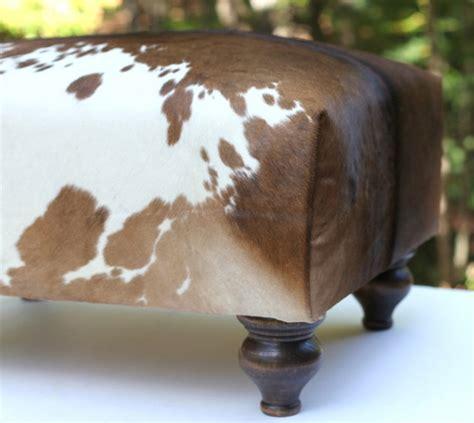 cowhide ottoman brown  white hide rustic