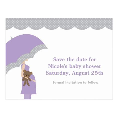 save the date for baby shower lavender umbrella baby shower save the date postcard zazzle