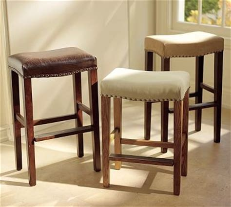 saddle bar stools pottery barn manchester backless barstool espresso stain frame