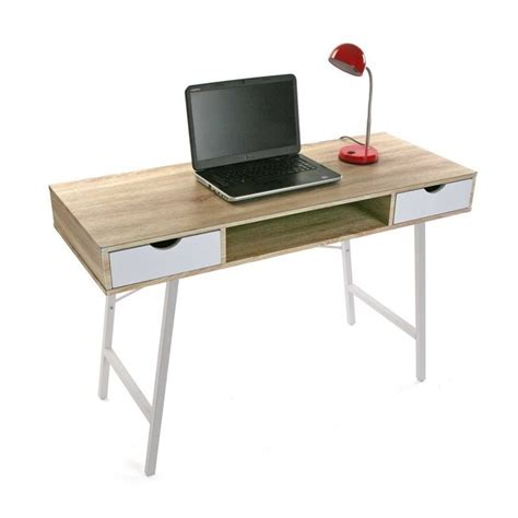 table bureau blanc table de bureau scandinave bois et metal blanc versa