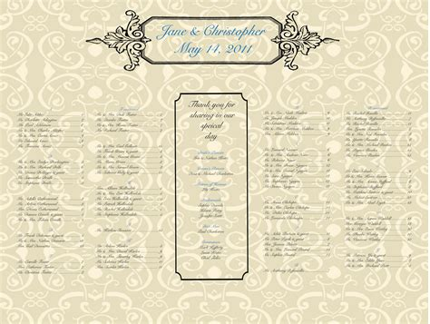 seating chart template for wedding alphabetical seating chart wedding template