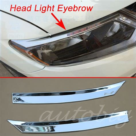 Garnis Depan X Trail 2015 Chrome light eyebrow cover chrome front l trim for nissan x trail rogue t32 2014 2015 2016