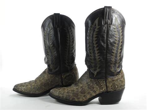mens rattlesnake skin boots abilene 8 5 d mens cowboy boots brown leather rattlesnake