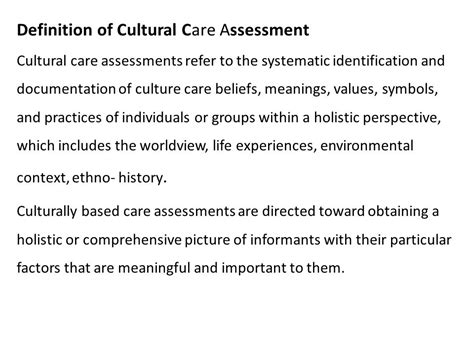 cultural biography definition lecture 7 cultural care assessments for congruent
