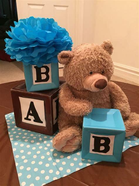 baby blocks centerpieces alphabet blocks and teddy themed centerpiece baby