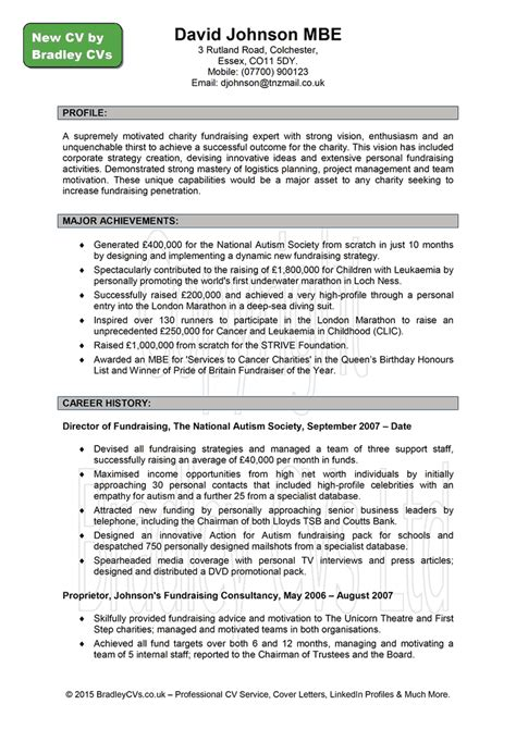 Sle Of Uk Resume Cv Exles Cv Expert