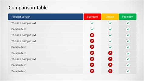 3d Comparison Table Powerpoint Template Slidemodel Comparison Ppt Template