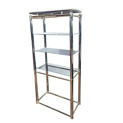 chrome bookshelves vintage mid century chrome and bronze shelving unit ebay
