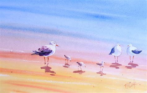 painting the sea people and birds with watercolor basics band of beach birds pj cook gallery of original fine art