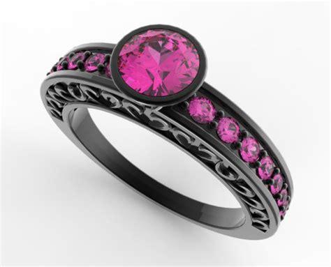 s black gold pink sapphire wedding band vidar