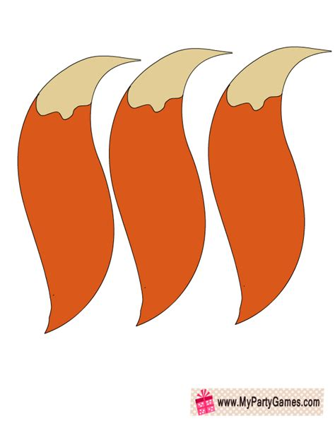 printable animal tails cartoon fox tail