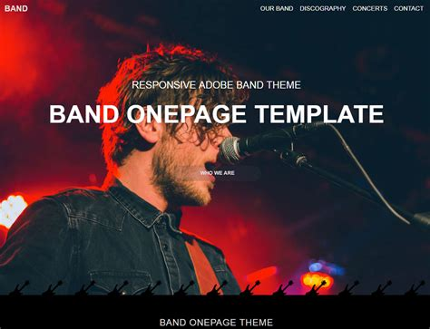 Band One Sheet Template by Band One Page Template Responsive Muse Templates Widgets