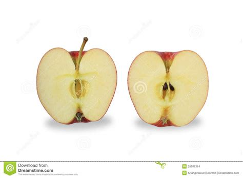 Hiltons Time Cut In Half by Cut Apple Isolate On White Background Stock Photo Image