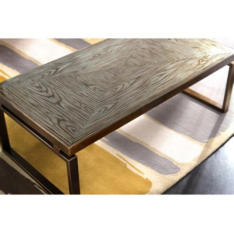 Huckleberry Modern Rustic Faux Wood Glass Bronze Coffee Rustic Glass Coffee Table
