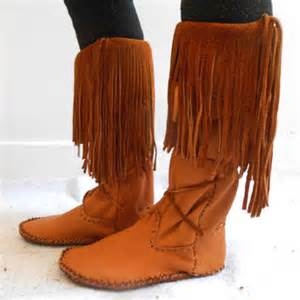 Tall fringe moccasin boots handmade leather moccs native american