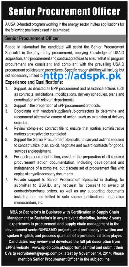 Mba In Procurement Management by In Islamabad Usaid Funded Program For Senior