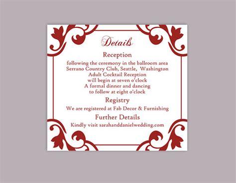 wedding card word template diy wedding details card template editable word file