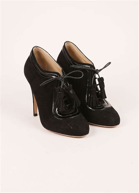 black lace up high heel booties black suede and patent leather lace up high heel ankle