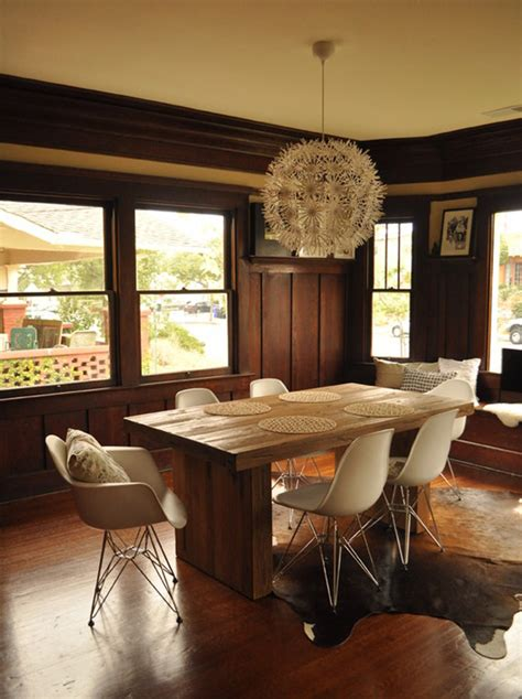 mixing mid century modern and rustic rustic modern dining and eames style chairs inmod style