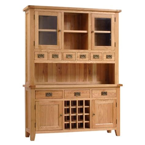 Oak Kitchen Dressers by Montague Oak Kitchen Dresser With Wine Rack V800 With