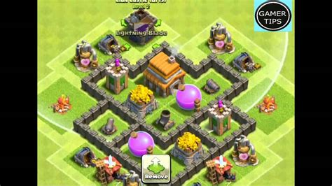 clash of clans layout strategy level 4 clash of clans town hall 4 defense best hybrid base layout