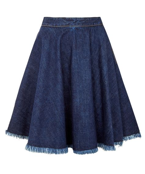 msgm navy fray denim circle skirt in blue lyst