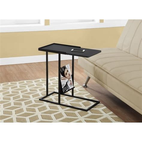 side table with l and magazine rack metal side table with magazine rack in black i 3097