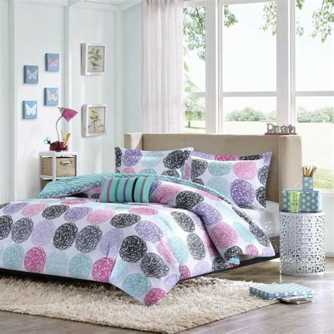 beautiful modern blue teal grey white purple pink girls comforter set  pillow ebay