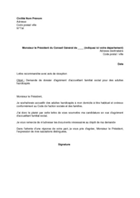 Modification Demande De Logement Social by Lettre De Demande De Dossier D Agr 233 Ment D Accueillant