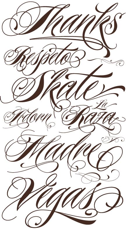 tattoo cursive fonts fonts characters designs