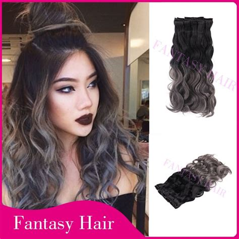 Hair Extension Clip Curly Ombre Silver Gray Abu Hairclip Keriting Curl 17 best images about sliver grey hair on silver hair clip in hair extensions and