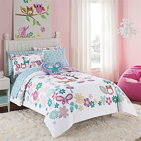 forest friends bedding vcny forest friends comforter set in turquoise purple