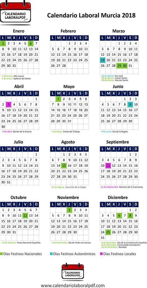 Calendario Laboral 2018 Murcia Calendario Laboral Murcia 2018 161 Desc 225 Rgalo Gratis