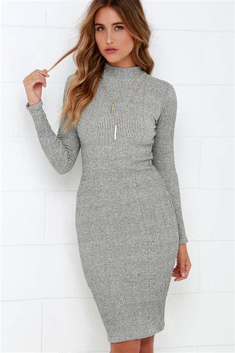Sweater Dress - chic grey dress midi dress bodycon dress sweater