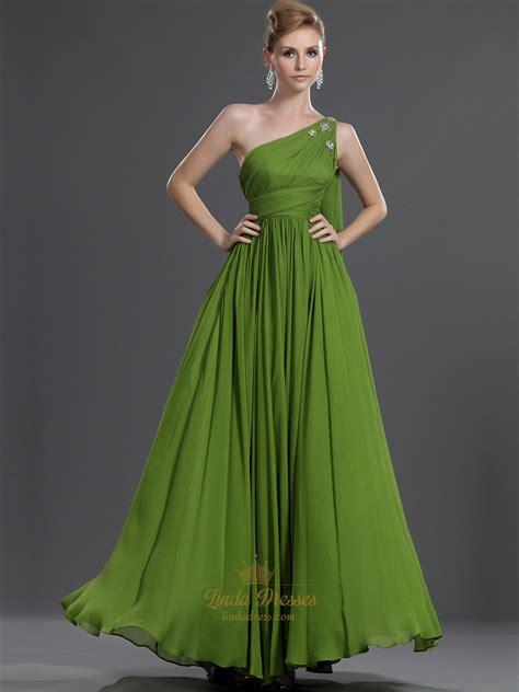 apple green  shoulder chiffon bridesmaid dress