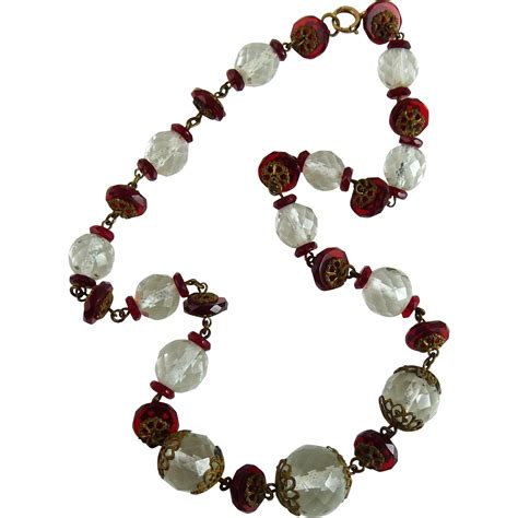 vintage glass bead necklace vintage deco glass bead necklace from ornaments