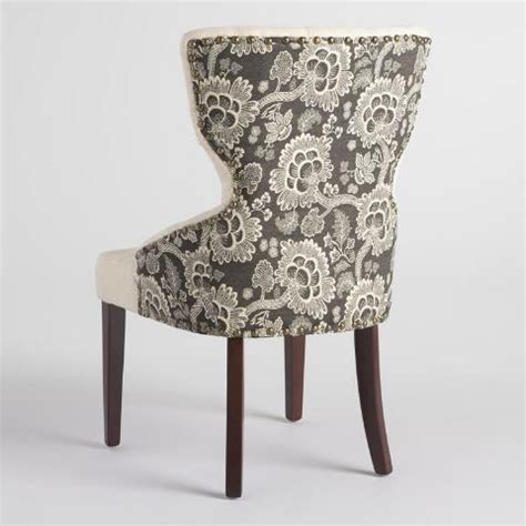 black patterned dining chairs black floral and linen maxine dining chair world market