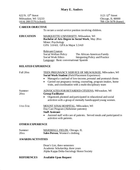 social worker objective statement 28 images sle hospital social work resume exles and sle