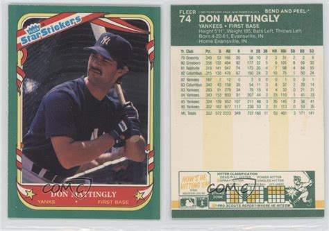 Don Mattingly Cards by 1987 Fleer Stickers 74 Don Mattingly New York