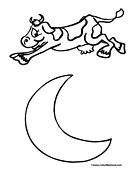 coloring page cow jumping over moon the cow jumped over moon clipart clipart suggest
