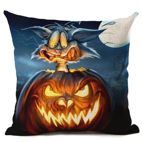 halloween couch cover cat witch castle linen throw pillow case cushion cover